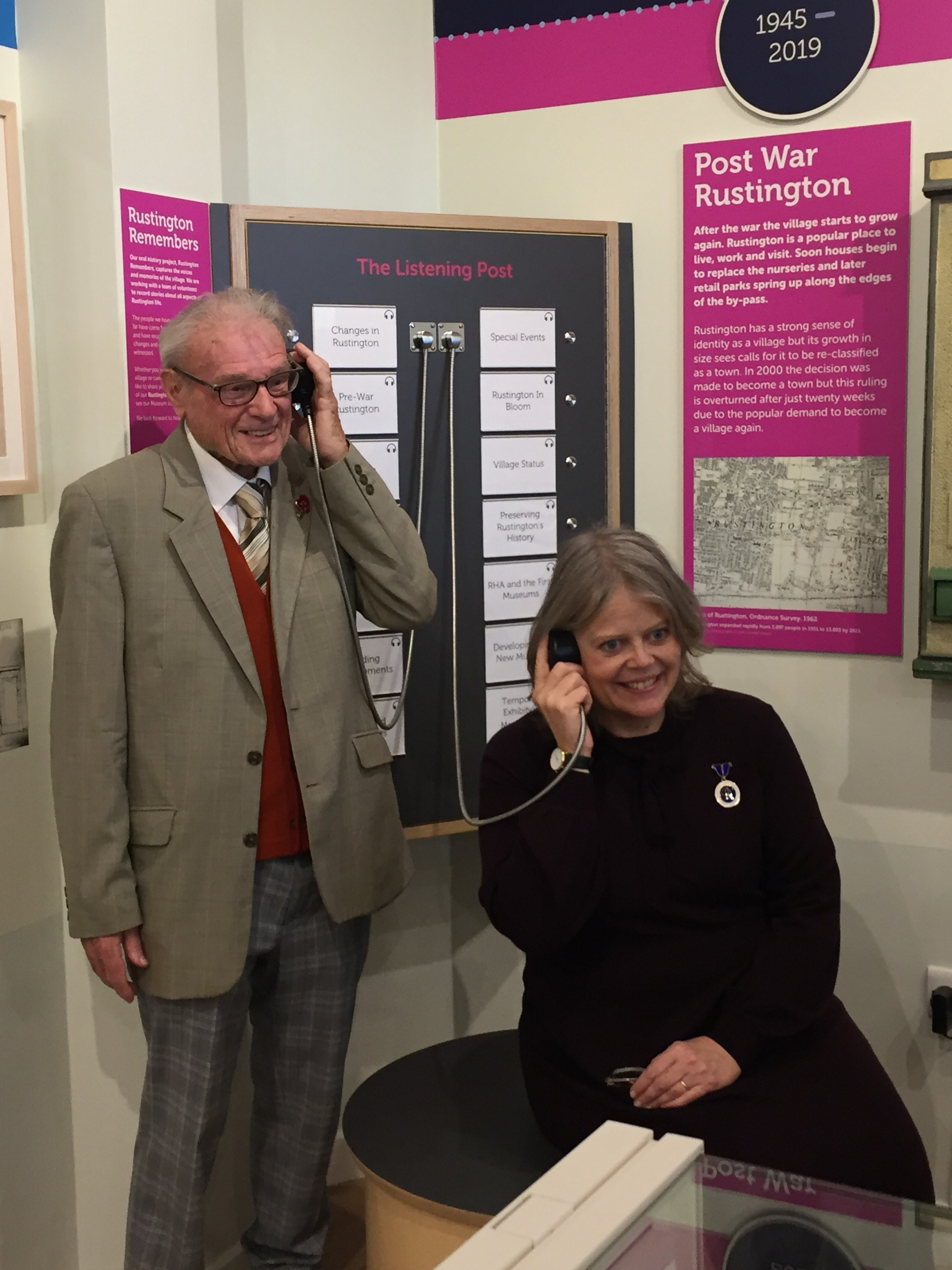 Harry Clark and Lady Emma Barnard Deputy Lieutenant try out the new Oral History station